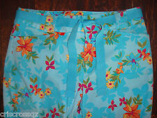 White Stag * TURQUOISE Flower STRETCH Cropped Pants CAPRIS * RIBBON BELT *  sz 6