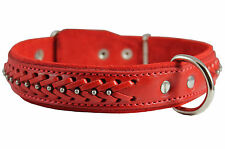 """Quality Braided Studded Real Leather Dog Collar 1.25"""" wide 16""""-20.5"""" neck size"""