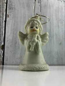 Vintage Angel Holding Candy Cane Ornament Bell