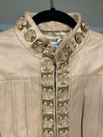Vintage Peter Nygard Leather Jacket. Ribbon Details Buff Color Size 12