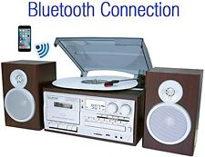Bluetooth Classic Style Record Player Turntable With AM/FM Radio, Cassette