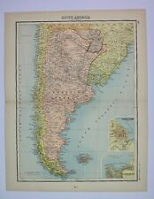 1898 Original Map of South America (South) JG Bartholomew