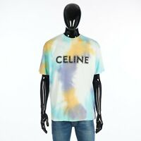 CELINE 590$ Men's Loose Tshirt In Multi Color Cotton With Studded Logo