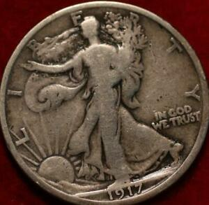 1917-D Rev Denver Mint Silver Walking Liberty Half