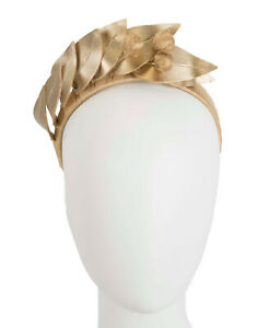 Gold faux leather racing fascinator headband by Max Alexander RRP $139