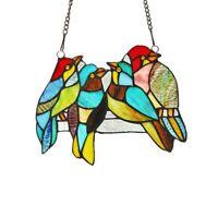 Elegant Bird Design Stained Glass Hanging Window Panel Tiffany Style Suncatcher