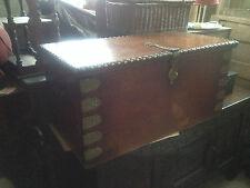 19th Century Oak Spanish Moorish Brass Inlaid Coffer certosina carved Victorian