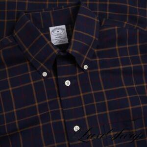 NWT Brooks Brothers Navy Blue Pumpkin Red Tattersall Button Down Dress Shirt M
