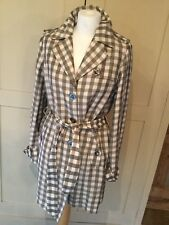 Jaeger Gingham checked taupe cream linen blend Trench coat Mac Size 10 brand new