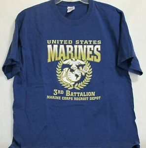 United States Marines 3rd Battalion Recruit Depot Adult T Shirt Blue XL