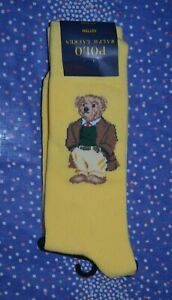Polo Ralph Lauren Yellow Polo Bear Dress Socks 1 Pair Men's Sock Size: 10-13 NIP