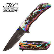 "8.25"" RAINBOW DEER SPRING ASSISTED FOLDING KNIFE Blade pocket open switch"