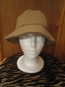 VTG Womens LL BEAN Irish Wool Bucket Hat 6 Panel All Wool BRITISH KHAKI Small
