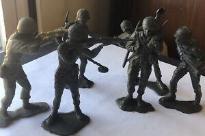 """6 Vintage Green Plastic 6"""" WWII American U.S. Army Soldiers Men"""