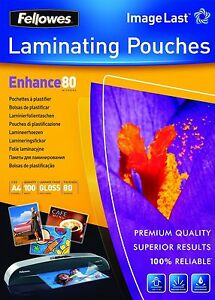 100 Sheets A4 Laminating Pouches 80 Micron Documents TOP Glossy Paper Protection