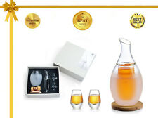 ZENS | Borosilicate Glass Sake Set with 2 Cups, Coasters  Towel, Chambered Sake