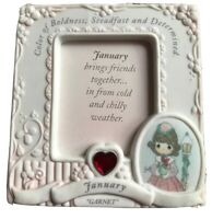 Precious Moments Frame Picture Birthday Frame January Garnet Vintage