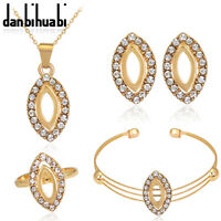 Luxurious Gold Plated Rhinestones Lady Necklace Ring Pendant Bangle Earrings Set