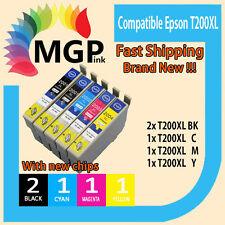 5x Generic Ink Cartridge T200 XL T2001 T2002 T2003 for Epson WF2540 XP200 XP300