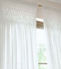 Girl's White Smocked Shabby Rod Pocket Window Curtains Drapes Kids 100% Cotton