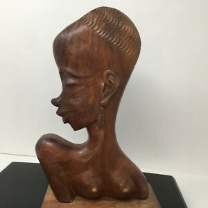 Hagenauer Style Double Sided African Bust Head Carved Wood Sculpture Art Deco