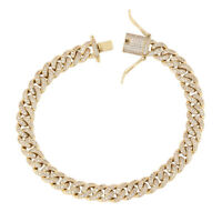 14k Gold Plated CZ Iced Miami Cuban Link Bracelet Chain for Men 8mm