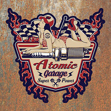 Atomic Garage Hot Rat Rod Sticker Large Vintage Retro Classic Car Camper Beetle