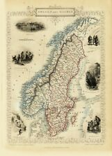 Sweden and Norway Antique Illustrated Map Tallis 23.2 x 16.8 inch