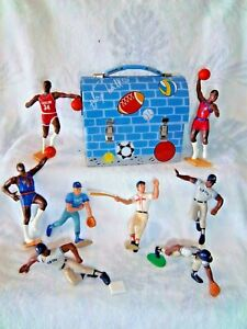 Metal LUNCH BOX PAIL with 8 MLB & NBA Famous Ball Athletes Action Figures WOW!