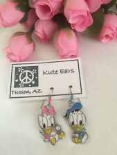 Silvertone Baby Daisy and Donald Duck Dangle Earrings