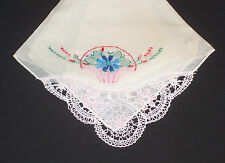 Crocheted Lace & Embroidered Floral Pink Red Blue Cotton Vintage Handkerchief