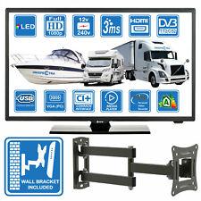"""MOTORHOME CARAVAN BOAT 12V 22"""" Inch FHD LED Digital Freeview TV 12 Volt USB PVR"""