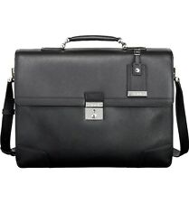 $1400 TUMI Mens BLACK Dorilton LEATHER MESSENGER BRIEFCASE TRAVEL ATTACHE BAG