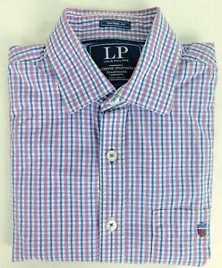 Louis Philippe Blue Purple Check Cotton Men's Long Sleeve Shirt Size 40 CM