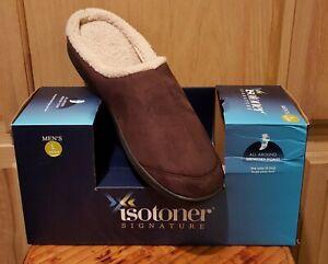 isotoner A9B995 Chocolate Microsuede Hoodback Memory Foam Clog Slippers - $38