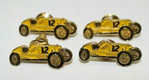 Vintage 1925 Reliance Indianapolis 500 Pete DePaolo Yellow #12 Pins Set Of 4 Car