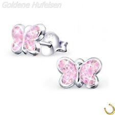 ROSA Glitzer Schmetterling Ohrstecker 925 Echt Silber Mädchen Ohrringe 8 x 5mm