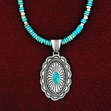 Native American Made Sterling Silver Turquoise Pendant & Necklace Set -- P19 T