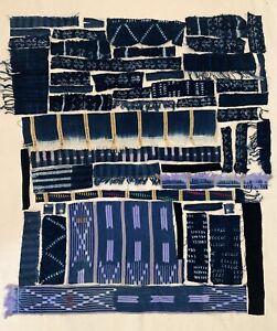 Mud Cloth Vintage Indigo Fabric Remnant Scrap Lot Authentic African Textile