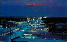 c1960 Chrome Postcard; Route 66 Amarillo TX at Night Gas Stations Used Unposted