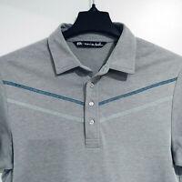 TRAVIS MATTHEW Men's M Medium Golf Polo Shirt Short Sleeve Gray Striped