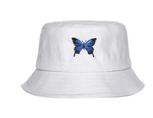 Women Fisherman Hat Butterfly Embroidered Bucket Cap Round Visor Polyester
