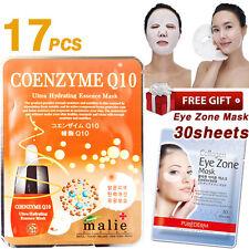 17PCS COENZYME Q10 Facial Mask Sheets, 30 Sheets Purederm Collagen Eye Zone Mask