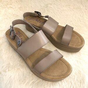 Blowfish Womens Platform Flat Size 11 Sandel Tan Open-toe Adjustable