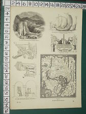 1845 PRINT ~ SAXON ~ MAP TENTH CENTURY SMITHY MINE OF ODIN WINE-PRESS SHIPS