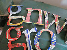 (6) Wood Metal Letters Made from Canned Meat Tin Cans - Spam!