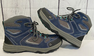 Vasque Boots 5 M Grey/Blue Lace Up Hiking Leather Upper Waterproof EU 37