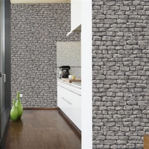 Rustic Brick Wallpaper | Grey & Black LAST FEW ROLLS