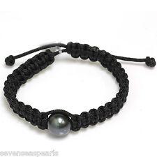 Tahitian Pearl Shamballa Macrame Bracelet 13 mm
