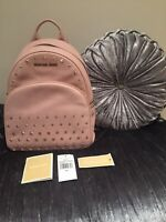 Michael Kors Backpack Bag Abbey Medium Blossom Pink Studded Leather RRP $398